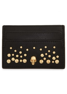 Alexander McQueen Skull & Studs Leather Card Case