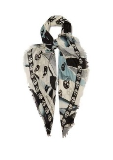 Alexander McQueen Skull and rose-print scarf