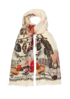 Alexander McQueen Skull and sea shell-print scarf