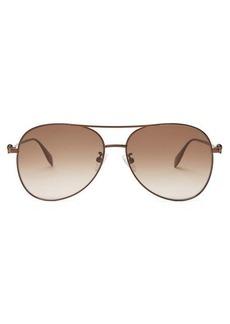 Alexander McQueen Skull aviator metal sunglasses