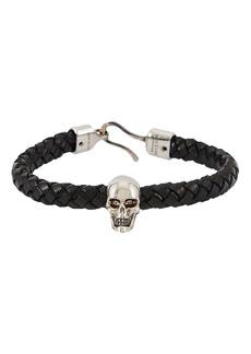 Alexander McQueen Skull Corded Leather Bracelet