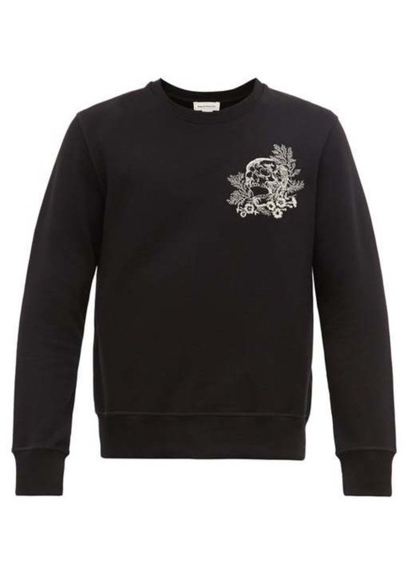 Alexander McQueen Skull-embroidered cotton-jersey sweatshirt