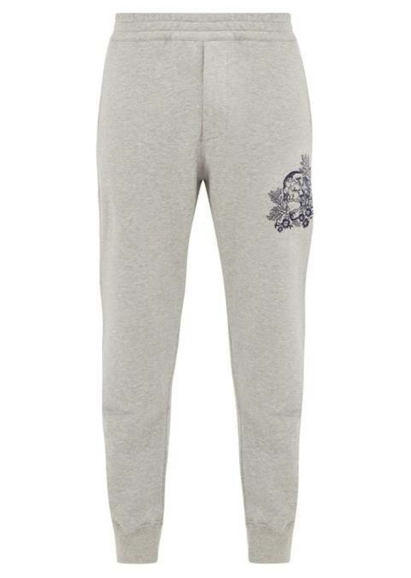 Alexander McQueen Skull-embroidered cotton-jersey track pants