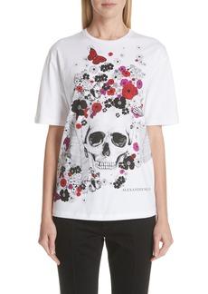 Alexander McQueen Skull Floral Print Tee