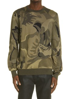 Alexander McQueen Skull Intarsia Wool Blend Sweater