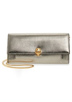 Alexander McQueen Skull Metallic Leather Wallet on a Chain