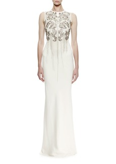 Alexander McQueen Sleeveless Chain-Embroidered Crepe Gown