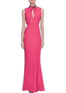 Alexander McQueen Sleeveless Column Gown with Embellished Halter Neck