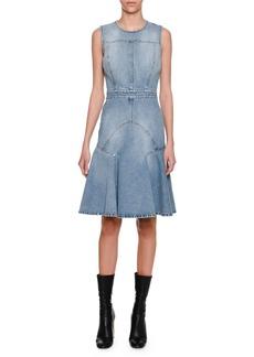 Alexander McQueen Sleeveless Denim Flounce Dress