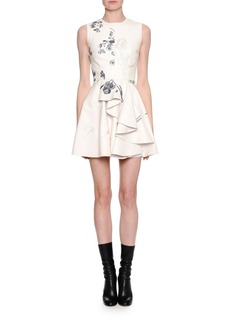 Alexander McQueen Sleeveless Embroidered Leather Side-Ruffle Minidress