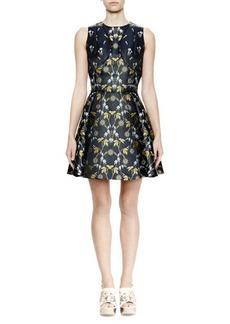 Alexander McQueen Sleeveless Fit-&-Flare Floral-Print Dress