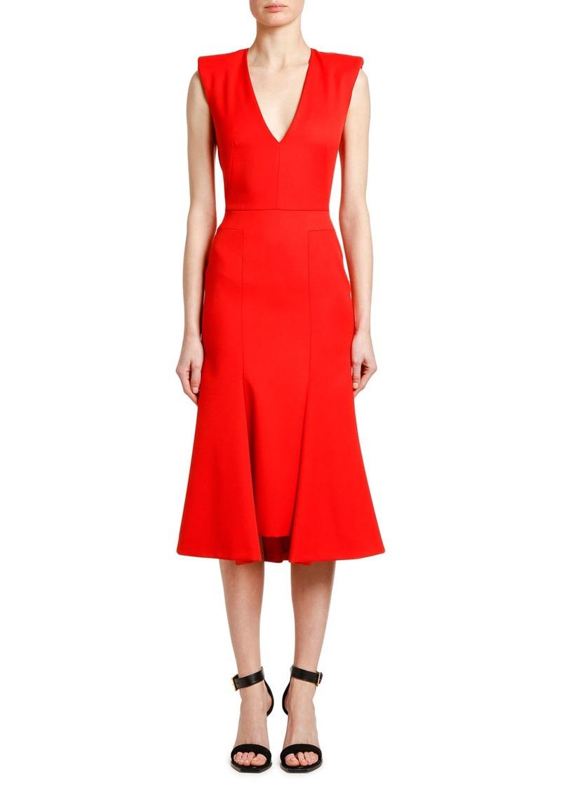 Alexander McQueen Sleeveless Grain de Poudres Dress
