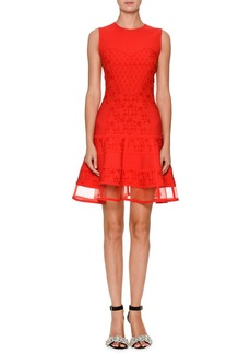 Alexander McQueen Sleeveless Jacquard-Knit Flared Dress