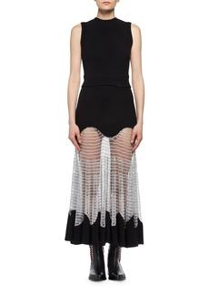 Alexander McQueen Sleeveless Knit Midi Dress with Netted Skirt