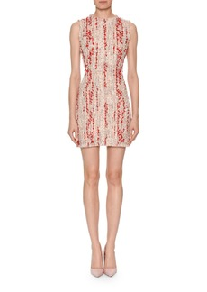 Alexander McQueen Sleeveless Petal Tweed Fitted Mini Dress with Frayed Hem
