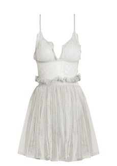 Alexander McQueen Sleeveless plunging lace mini dress