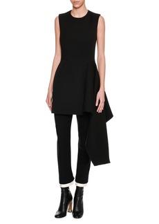 Alexander McQueen Sleeveless Side-Ruffle Draped Minidress