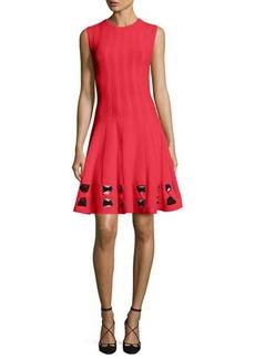 Alexander McQueen Sleeveless Twist-Knot Cutout-Trim Dress