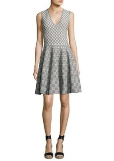 Alexander McQueen Sleeveless V-Neck Check Dress