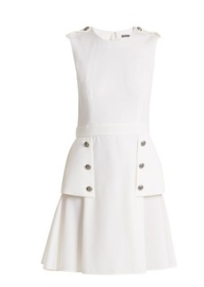 Alexander McQueen Sleeveless wool grain de poudre mini dress
