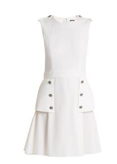 Alexander McQueen Sleeveless wool grain de poudre mini dress