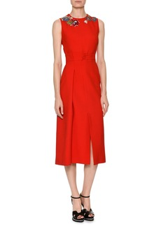 Alexander McQueen Sleeveless Wool-Silk Midi Sheath Cocktail Dress with Jeweled Embellishment