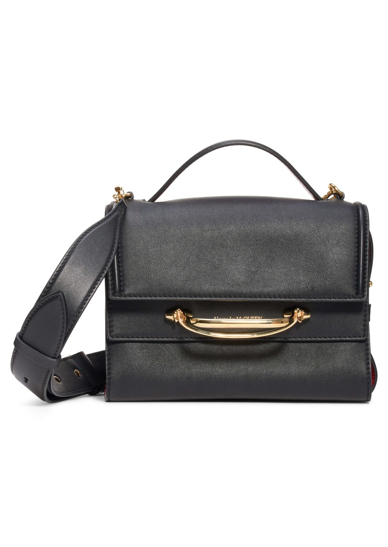 Alexander McQueen Small Double Flap Leather Shoulder Bag