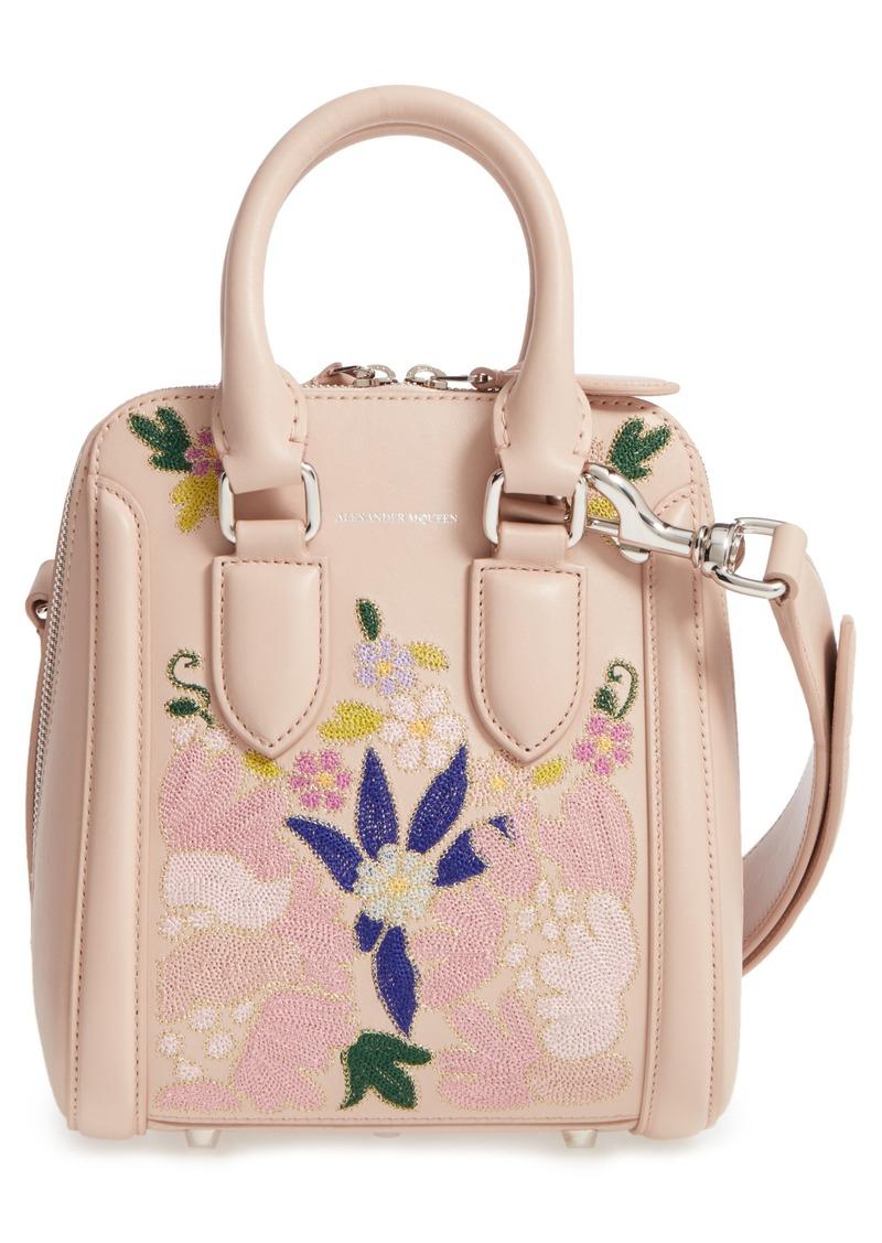 alexander mcqueen alexander mcqueen small heroine flower embroidered leather satchel handbags. Black Bedroom Furniture Sets. Home Design Ideas