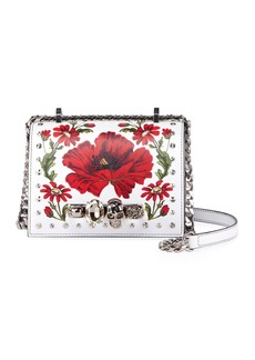 Alexander McQueen Small Jeweled Satchel Bag with Poppy Art