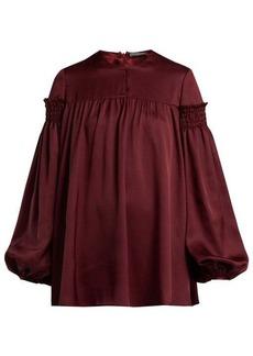 Alexander McQueen Smocked silk-satin blouse
