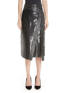 Alexander McQueen Snake Embossed Leather Wrap Skirt