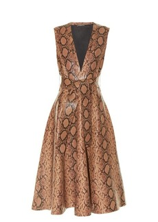 Alexander McQueen Snakeskin-effect leather A-line midi dress