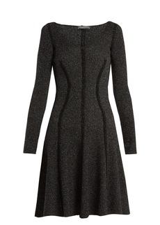 Alexander McQueen Speckled flared-skirt ribbed-knit dress