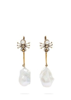 Alexander McQueen Spider crystal and pearl-embellished drop earrings