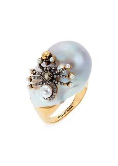 Alexander McQueen Spider Imitation Pearl Ring