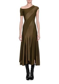 Alexander McQueen Spiral-Knit Bias-Cut Midi Dress