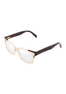 Alexander McQueen Square Metal & Acetate Optical Glasses
