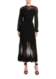 Alexander McQueen Squiggle-Seam Embroidered Lace Dress