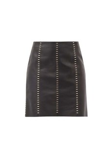 Alexander McQueen Staple-stitched leather mini dress