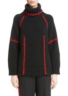 Alexander McQueen Stitch Detail Cashmere Turtleneck Sweater