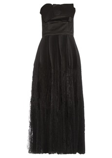 Alexander McQueen Strapless fan-pleated silk dress