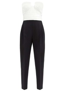 Alexander McQueen Strapless silk-bustier wool-blend jumpsuit