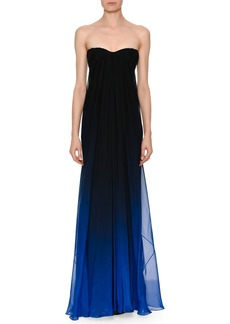 Alexander McQueen Strapless Sweetheart Chiffon Degrade Column Evening Gown