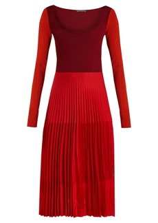 Alexander McQueen Stretch knit pleated midi dress