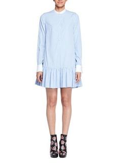 Alexander McQueen Striped Poplin Drop-Waist Tunic Dress