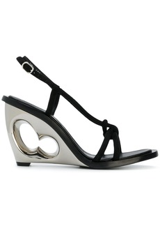 Alexander McQueen structured heel sling back sandals - Black