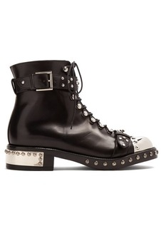 Alexander McQueen Stud-embellished leather ankle boots
