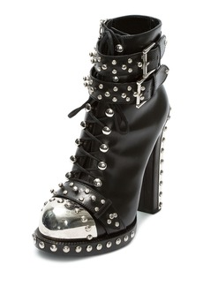 Alexander McQueen Studded Lace-Up Buckle Bootie