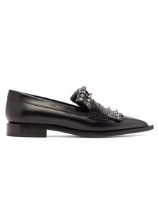 Alexander McQueen Studded point-toe leather loafers