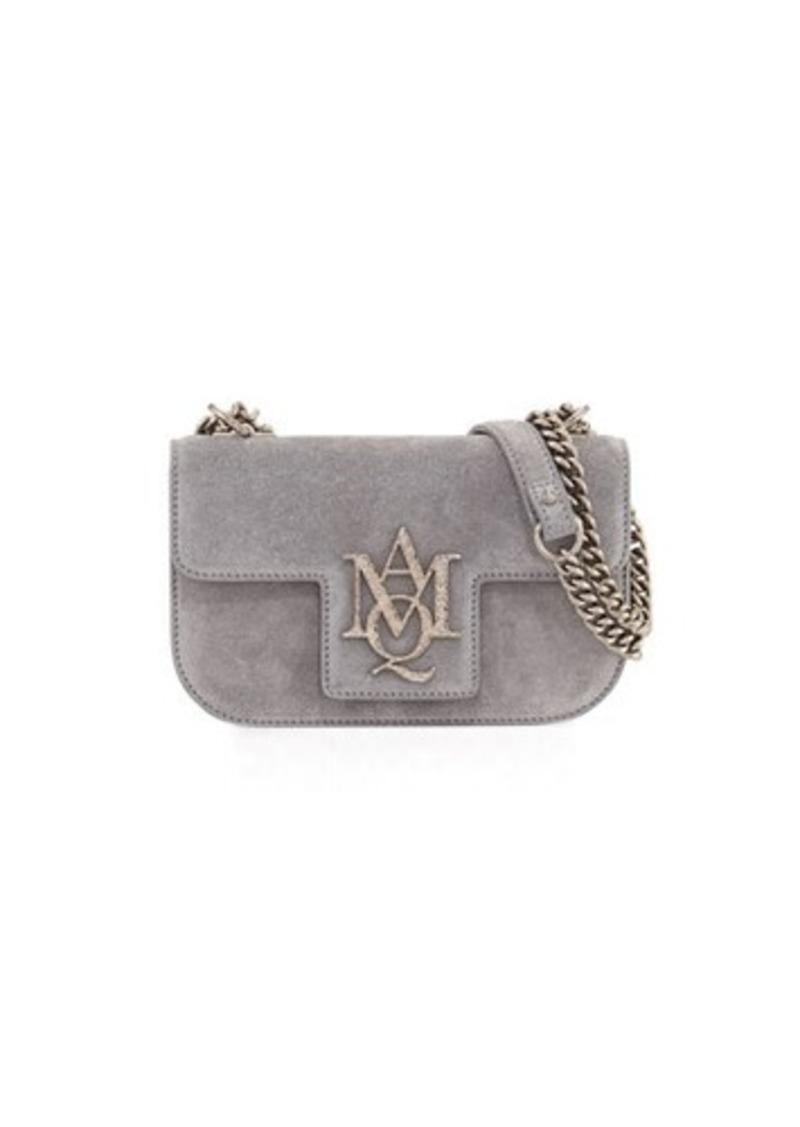Alexander McQueen Suede Chain Flap Satchel Bag